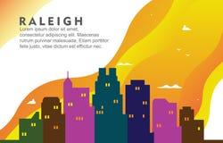 Illustrazione dinamica del fondo dell'orizzonte di paesaggio urbano di Raleigh North California City Building illustrazione di stock