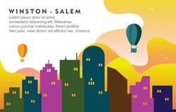 Illustrazione dinamica del fondo dell'orizzonte di paesaggio urbano di Winston Salem North California City Building illustrazione vettoriale