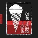 Illustrazione dipinta gesso del gelato menu Fotografie Stock Libere da Diritti