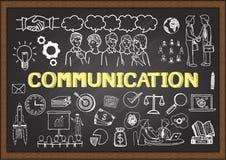 Illustrazione disegnata a mano circa la comunicazione sulla lavagna Illustrazione di vettore Immagini Stock Libere da Diritti