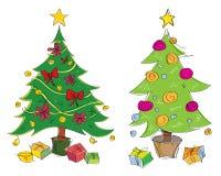 Illustrazione disegnata a mano colourful degli alberi di Natale di vettore Adatto a cartoline d'auguri illustrazione vettoriale