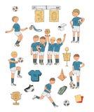 Illustrazione disegnata a mano con i calciatori variopinti, isolati su fondo bianco Roba di calcio, gruppo di conquista felice, t Immagine Stock