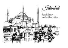 Illustrazione disegnata a mano con il punto di riferimento turco Fotografia Stock Libera da Diritti