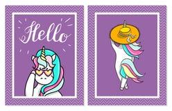 Illustrazione disegnata a mano degli unicorni magici Ciao testo Può essere usato per la carta accogliere, di compleanno e dell'in Fotografia Stock Libera da Diritti