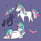 Illustrazione disegnata a mano degli unicorni magici Illustrazione isolata vettore Fotografia Stock Libera da Diritti