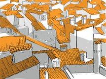 Vecchi tetti della città Immagini Stock Libere da Diritti