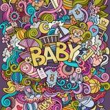 Illustrazione disegnata a mano del bambino di scarabocchio di vettore del fumetto Immagini Stock