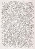 Illustrazione disegnata a mano del campo di scarabocchi del fumetto Fotografia Stock