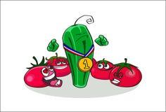 Illustrazione disegnata a mano del cetriolo del campione e dei suoi fan appassionati dei pomodori Fotografie Stock