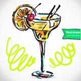 Illustrazione disegnata a mano del cocktail. Fotografia Stock