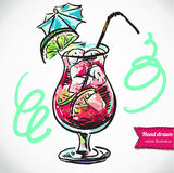 Illustrazione disegnata a mano del cocktail Illustrazione di Stock