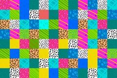 Illustrazione disegnata a mano del collage della toppa nella porpora verde gialla di colori di rosa blu vibrante del fondo illustrazione vettoriale