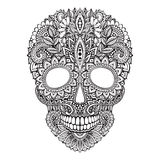 Illustrazione disegnata a mano del cranio umano nello stile decorato dello zentangle Fotografia Stock