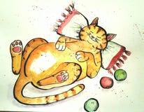 Illustrazione disegnata a mano del gatto Immagini Stock Libere da Diritti