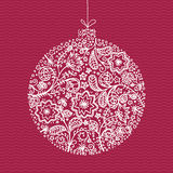 Illustrazione disegnata a mano del giocattolo per l'albero di Natale Decorazione imprecisa del nuovo anno Fotografia Stock Libera da Diritti
