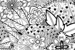 Illustrazione disegnata a mano del libro da colorare adulto illustrazione di stock