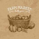 Illustrazione disegnata a mano del mercato dell'azienda agricola di vettore Fotografia Stock