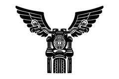 Illustrazione disegnata a mano del motociclo con le ali Progetti l'elemento per il logo, l'etichetta, l'emblema, il segno, il dis illustrazione vettoriale
