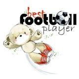 Illustrazione disegnata a mano dell'acquerello del calciatore sveglio dell'orsacchiotto Migliore giocatore di football americano illustrazione vettoriale
