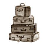 Illustrazione disegnata a mano dell'acquerello delle valigie d'annata Immagine Stock Libera da Diritti