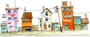 Illustrazione disegnata a mano dell'acquerello di vecchia della città scena della via Immagini Stock