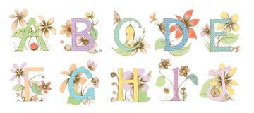 Illustrazione disegnata a mano dell'alfabeto Fotografia Stock