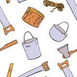 Illustrazione disegnata a mano dell'attrezzatura della campagna Immagine Stock