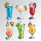 Illustrazione disegnata a mano dell'insieme dei cocktail royalty illustrazione gratis