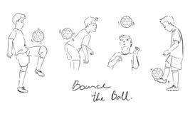 Illustrazione disegnata a mano dell'insieme dei giocatori di football americano royalty illustrazione gratis