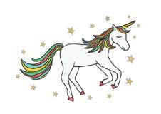 Illustrazione disegnata a mano dell'unicorno di colore illustrazione di stock