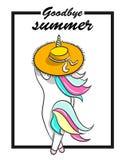 Illustrazione disegnata a mano dell'unicorno magico Arrivederci testo di estate Illustrazione di vettore Fotografia Stock