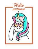 Illustrazione disegnata a mano dell'unicorno magico Ciao testo di autunno Illustrazione di vettore Fotografia Stock
