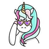 Illustrazione disegnata a mano dell'unicorno magico in occhiali da sole Immagine Stock Libera da Diritti