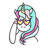 Illustrazione disegnata a mano dell'unicorno magico Può essere usato per la carta accogliere, di compleanno e dell'invito Fotografia Stock