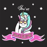 Illustrazione disegnata a mano dell'unicorno magico Siete testo impressionante Può essere usato per la carta accogliere, di compl Fotografia Stock Libera da Diritti