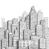Illustrazione disegnata a mano della città Fotografie Stock