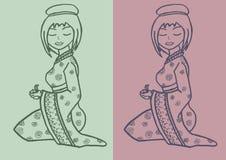 Illustrazione disegnata a mano della geisha Fotografia Stock