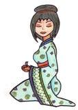 Illustrazione disegnata a mano della geisha Fotografia Stock Libera da Diritti