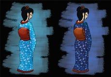 Illustrazione disegnata a mano della geisha Immagini Stock