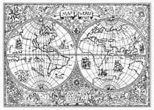Illustrazione disegnata a mano della mappa antica dell'atlante del mondo con i simboli mistici illustrazione vettoriale