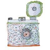 Illustrazione disegnata a mano della retro macchina fotografica analogica con il flash Illustrazione geometrica della macchina fo royalty illustrazione gratis