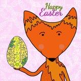 Illustrazione disegnata a mano della volpe con l'uovo dorato disegnato a mano a colori Fotografia Stock