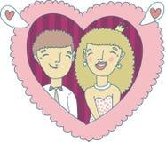 Illustrazione disegnata a mano delle coppie di amore Fotografie Stock Libere da Diritti