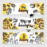 Illustrazione disegnata a mano delle insegne del miele di vettore di alimento sano royalty illustrazione gratis