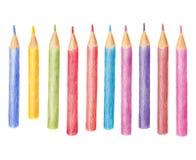 Illustrazione disegnata a mano delle matite colorate nella fila Fotografia Stock