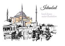 Illustrazione disegnata a mano di Costantinopoli Immagini Stock