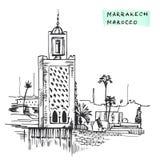 Illustrazione disegnata a mano di costruzione di vettore dell'inchiostro del nero di Marrakesh Marocco Fotografie Stock