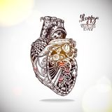 Illustrazione disegnata a mano di cuore meccanico Fotografia Stock