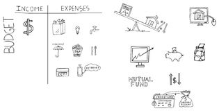 Illustrazione disegnata a mano di finanza personale Fotografie Stock Libere da Diritti