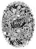 Illustrazione disegnata a mano di idea di scarabocchi svegli del fumetto Fotografia Stock